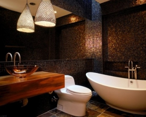 76-Cool-Truly-Masculine-Bathroom-Décor-Ideas-With-black-ceramic-tiles-wall-and-white-bathtub-and-wooden-washbasin-and-chandelier-and-modern-toilet-design