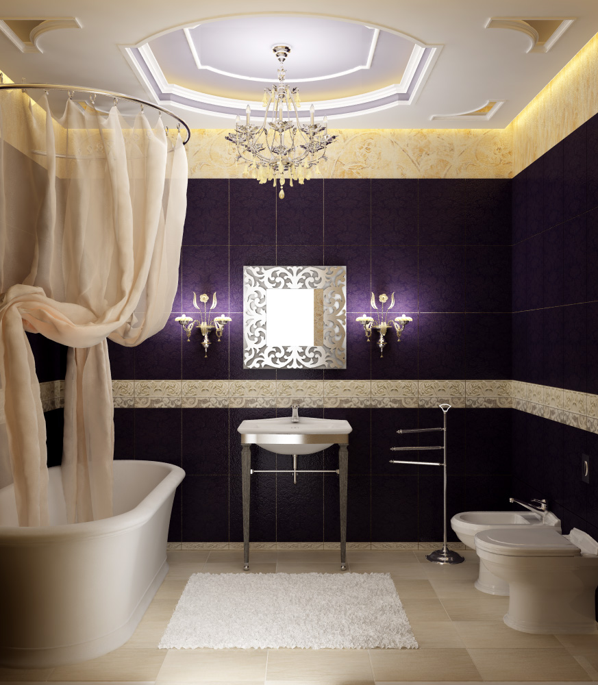 Bathroom-White-Bathtub-Wall-Ceramic-Toilets-Chandelier-Floor-Tiles